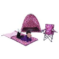 Pacific Play Tents 23333 Pink Camo Set - Tent,Chair, Sleeping Bag