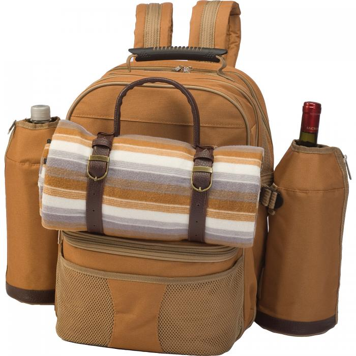 Picnic Plus Tremont 4 Person Picnic Backpack with Blanket (Brown)