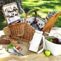 Picnic at Ascot Huntsman Basket for 4 with Coffee Set & Blanket - Santa Cruz