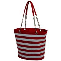 Picnic at Ascot Large Insulated Fashion Cooler Bag - 22 Can Tote - Red Stripe