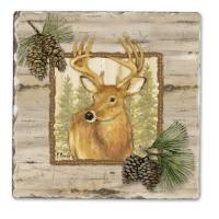 Counter Art Forest Trails Deer Single Tumbled Tile Coaster