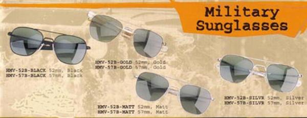 Humvee Tactical Sunglasses Silver Frame 52mm