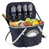 Picnic at Ascot Insulated Picnic Basket Equipped with Service For 4 - Navy