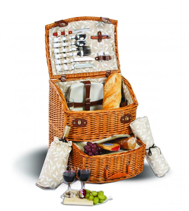 Picnic Plus Exeter 4 Person Picnic Basket on Wheels - Vine Lining