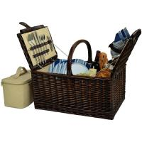 Picnic at Ascot Buckingham Picnic Willow Picnic Basket with Service for 4 - Blue Stripe