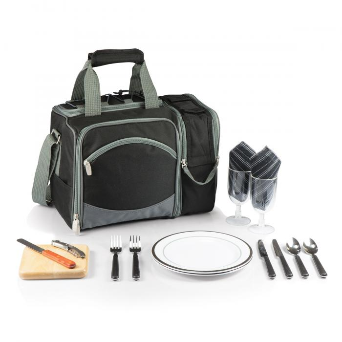 Picnic Time Malibu Shoulder Pack w/ Deluxe Picnic Service for 2, Black