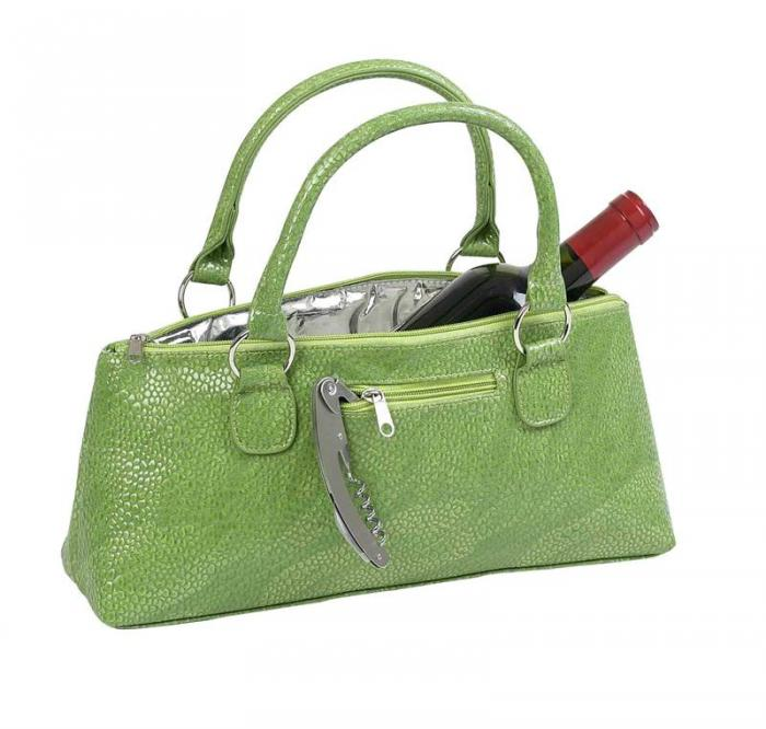 Primeware Green Serpentes Insulated Single Bottle Wine Clutch