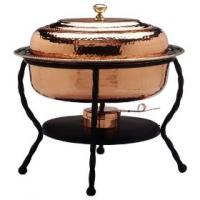 "Old Dutch 16 1/2"" x 12 1/2"" x 18"" Oval Decor Copper Chafing Dish 6 Qt"