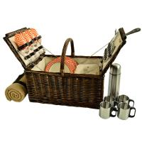 Picnic at Ascot Buckingham Willow Picnic Basket W/Service for 4 W/Blanket and Coffee Service - Diamond Orange