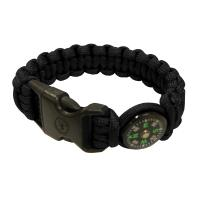 "Survival Bracelet 8"" Compass, Black"