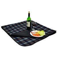 Picnic at Ascot Outdoor Picnic Blanket with Waterproof Backing -Navy Blue Plaid