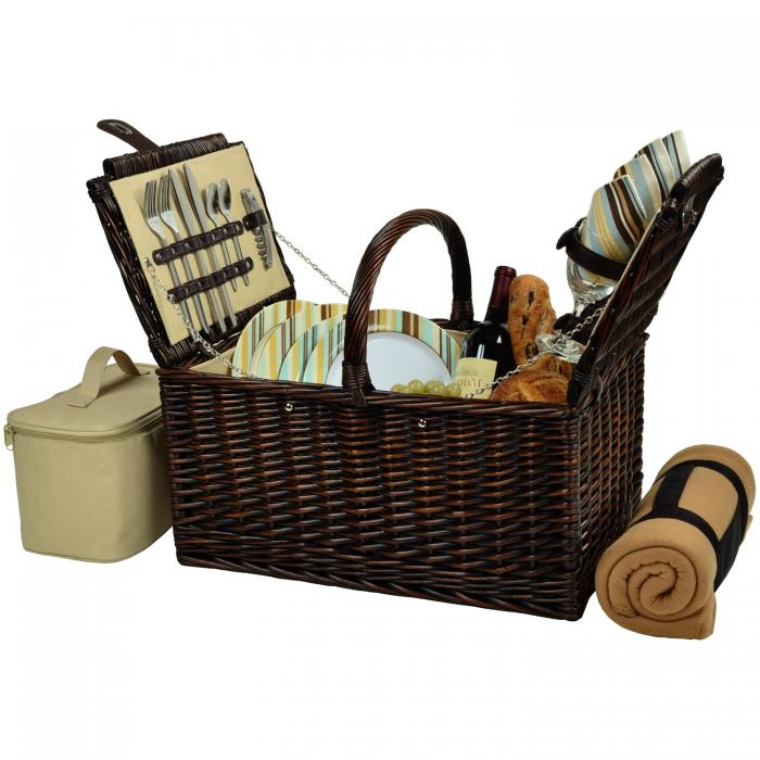 Picnic at Ascot Buckingham Willow Picnic Basket with Service for 4 with Blanket - Santa Cruz