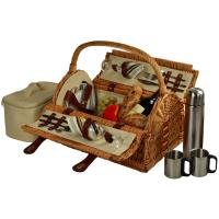 Picnic at Ascot Sussex Picnic Basket for 2 w/Coffee, Wicker Santa Cruz Stripe