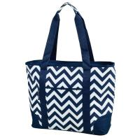 Picnic at Ascot Extra Large Insulated Cooler Bag - 30 Can Tote - Blue Chevron
