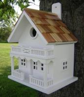 Home Bazaar 2 Story Shingled Roof Chalet Birdhouse