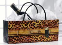 Giftcraft Orange Leopard Print Handbag Design Wine Bottle Gift Bag
