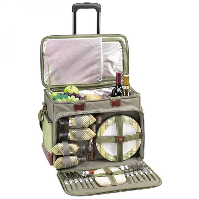 Picnic at Ascot- Ultimate Insulated Picnic Cooler on Wheels with Service for 4. Olive Tweed