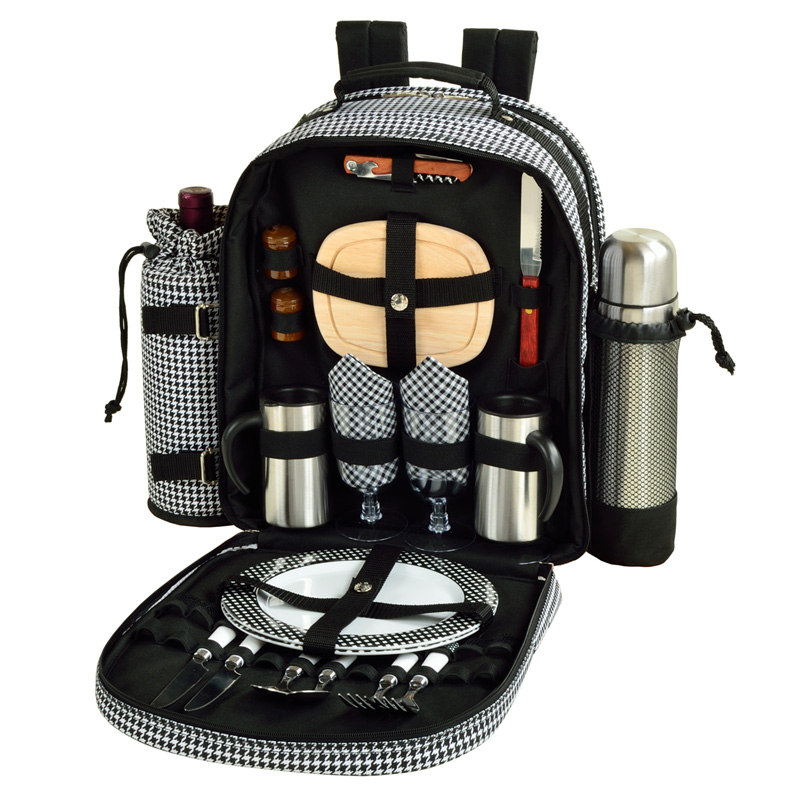 Picnic At Ascot Deluxe Equipped 2 Person Picnic Backpack W Coffee Service Cooler Insulated Wine Holder Houndstooth