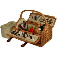 Picnic at Ascot Sussex Picnic Basket for 2, Wicker/Santa Cruz Stripe