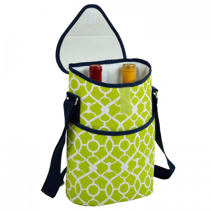 Picnic at Ascot Insulated Wine/Water Bottle Tote with Shoulder Strap -  Trellis Green