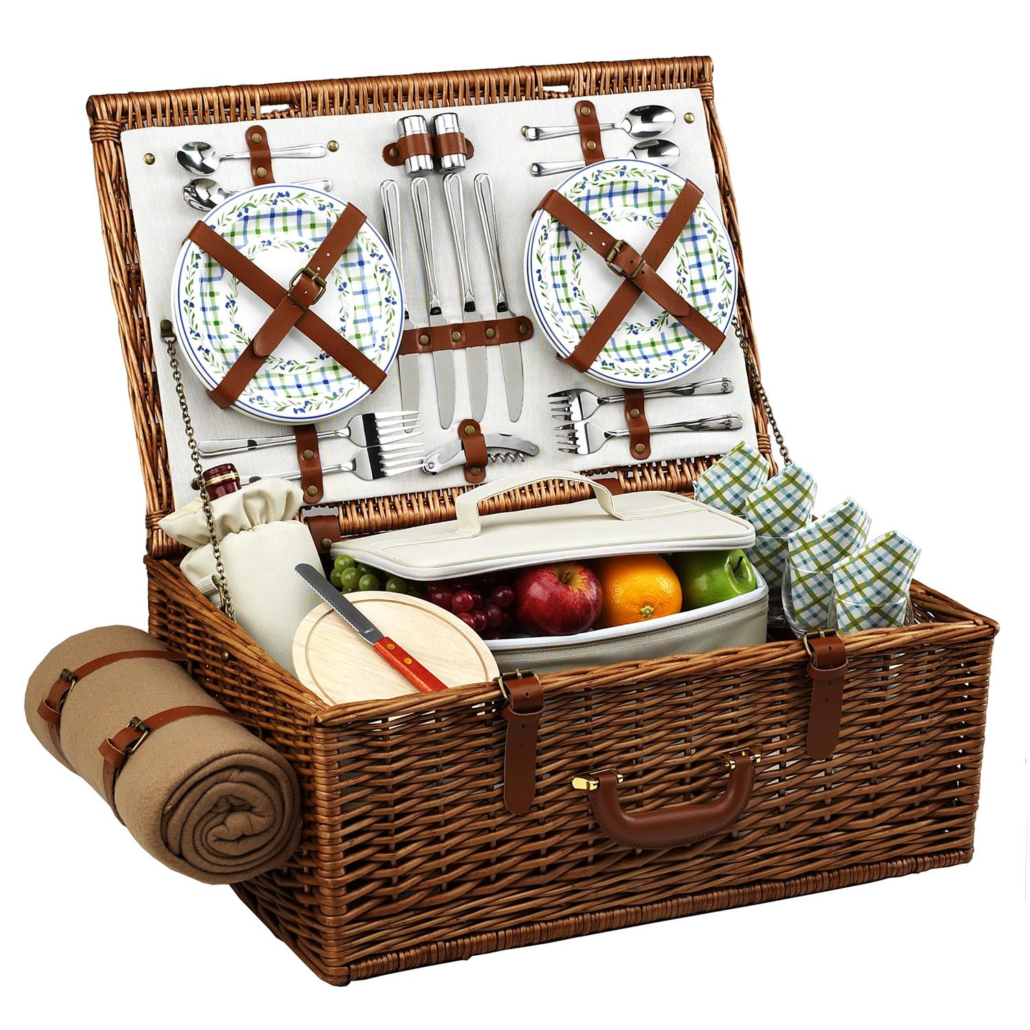 Picnic At Ascot Dorset English Style Willow Picnic Basket With Service For 4 Blanket Gazebo