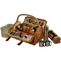 Picnic at Ascot Sussex Willow Picnic Basket with Service for 2, Coffee Set and Blanket - London Plaid