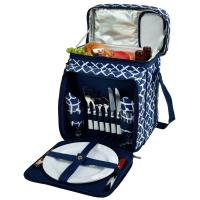 Picnic at Ascot Equipped Picnic Cooler for 2 - Trellis Blue