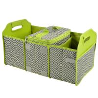 Original Folding Trunk Organizer with Cooler by Picnic at Ascot - Grey/Green