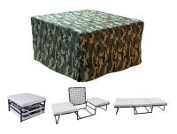 Nova Furniture Magical Ottoman Sleeper with Memory Foam Mattress Pads and Green Camouflage Microfiber Cover