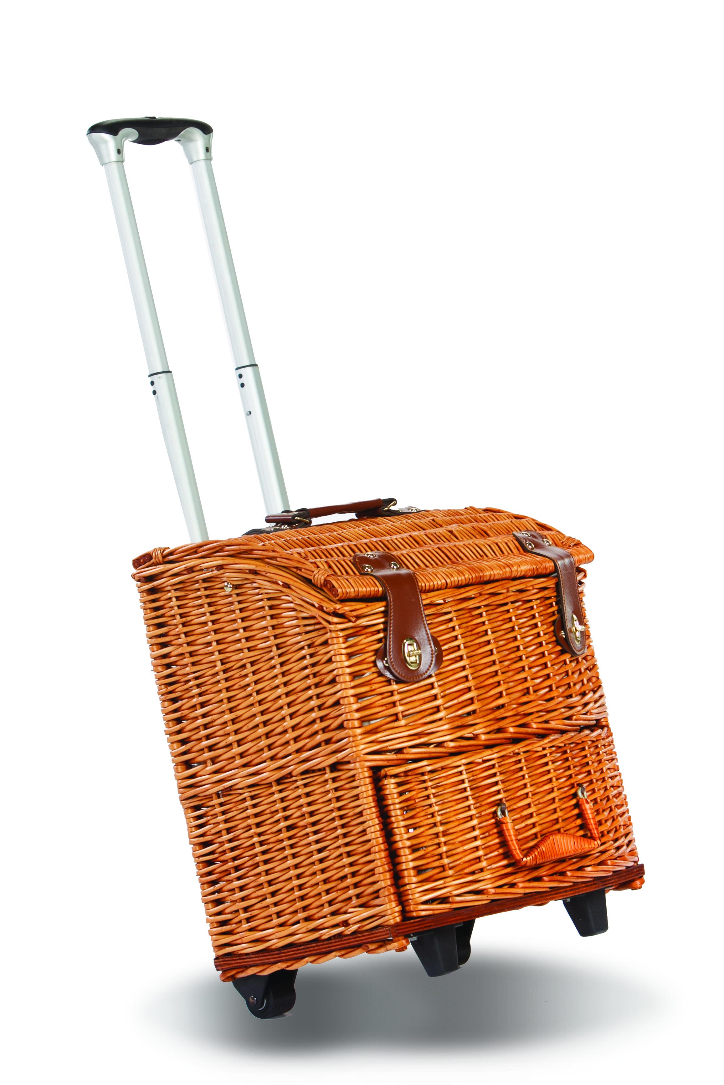 picnic plus exeter 4 person picnic basket on wheels vine