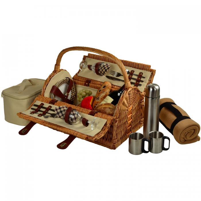 Picnic at Ascot Sussex Willow Picnic Basket with Service for 2 with Coffee Set & Blanket - London Plaid