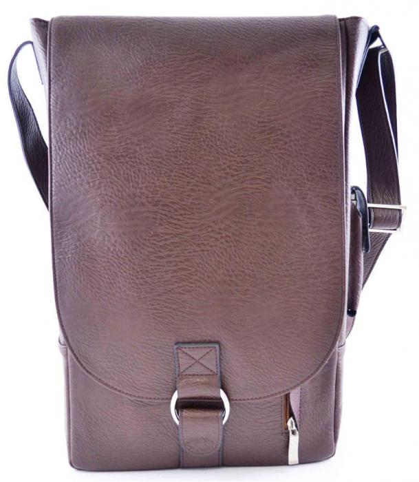 Primeware Vino2 Brown Faux Leather Messenger Bag Style Two Bottle Wine Tote