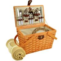 Picnic at Ascot Frisco Traditional American Style Picnic Basket for 2 w/ Blanket -London Plaid