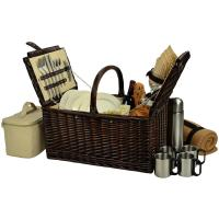 Picnic at Ascot Buckingham  Basket for 4 w/Blanket & Coffee, Brown Wicker/Bahamas
