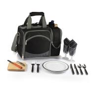 Picnic Time Malibu Shoulder Pack w/ Deluxe Picnic Service for 2, Black