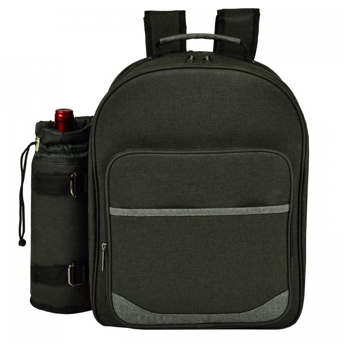 Picnic at Ascot - Deluxe Equipped 4 Person Eco Picnic Backpack with Cooler & Insulated Wine Holder - Charcoal