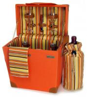 Picnic & Beyond Terazzo Elegant Wooden Picnic Carrier w/Service for Two