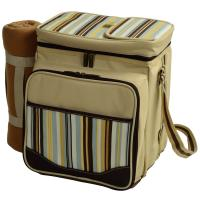 Picnic at Ascot Santa Cruz Picnic Cooler for 2 with Blanket, Beige/Soft Stripe