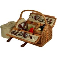 Picnic at Ascot Sussex Picnic Basket for 2, Wicker/London Plaid