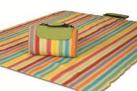 """Mega Mat Folded Picnic Blanket with Shoulder Strap - 68"""" x 82"""" (Salsa Stripe)"""