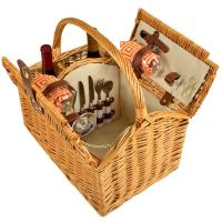 Picnic at Ascot Vineyard Willow Picnic Basket with service for 2 - Diamond Orange