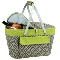Picnic at Ascot Insulated Market Basket / Picnic Tote - Grey/Green