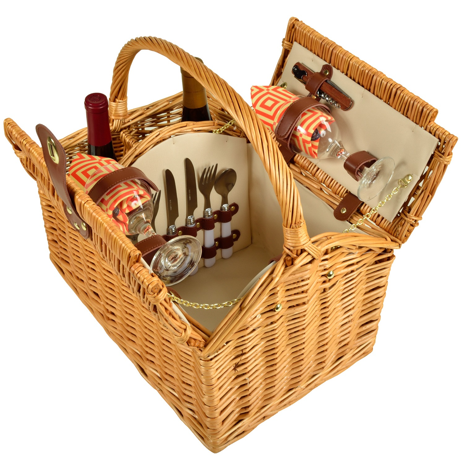 Picnic At Ascot Vineyard Willow Picnic Basket With Service For