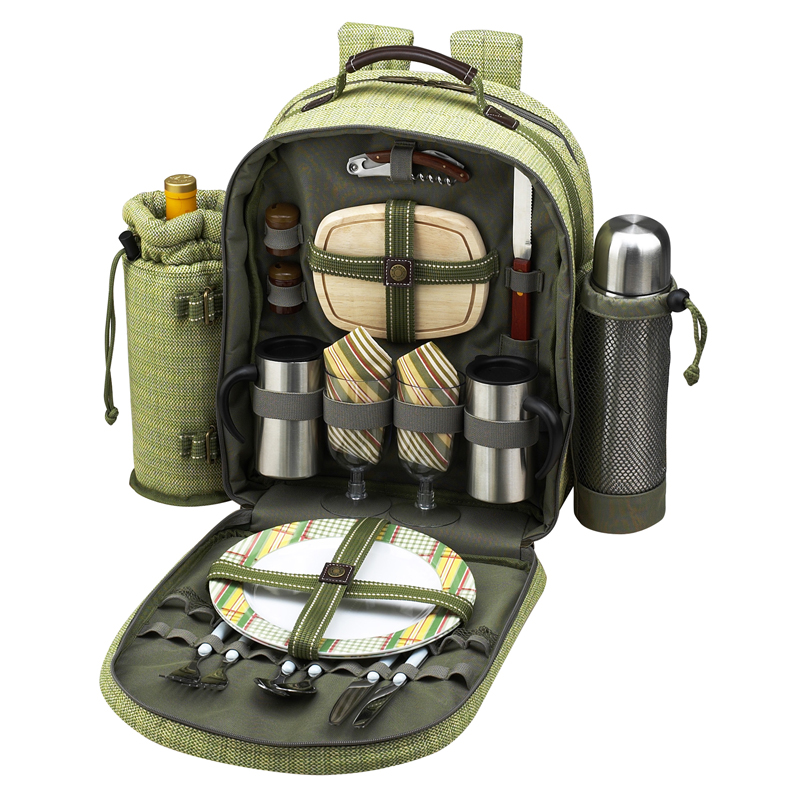 Picnic At Ascot Deluxe Equipped 2 Person Eco Picnic Backpack With Coffee Service Cooler Insulated Wine Holder Olive Tweed