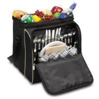 Picnic Time Verdugo Insulated Picnic Cooler for Four, Black with Tan