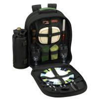 Picnic at Ascot Eco Picnic Backpack Cooler for Two, Dark Green with Green Trim