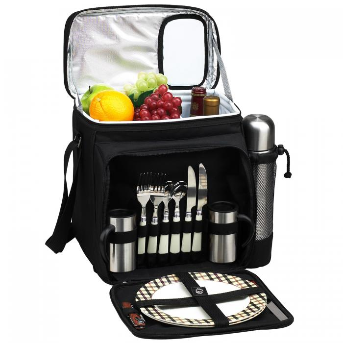 Picnic at Ascot Insulated Picnic Basket/Cooler Fully Equipped for 2  with Coffee Service - Black