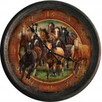 Rivers Edge Products Running Horses Vintage Tin Wall Clock