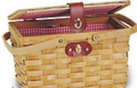 United Basket Company Lined Wood Picnic Basket