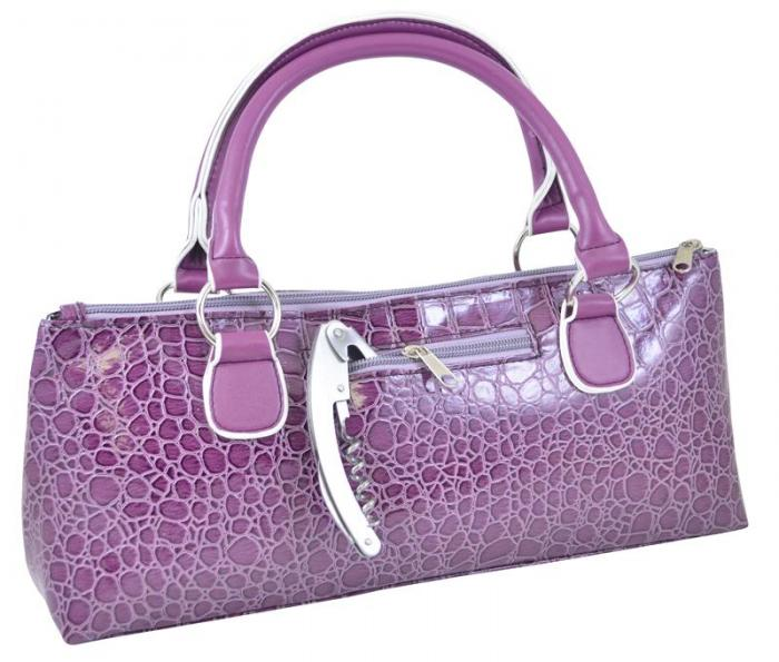 Picnic Gift - Wine Clutch- Purple Croc  Insulated Single Bottle Wine Tote